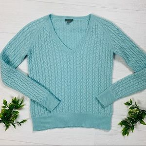Ann Taylor Cashmere Cable V-neck Sweater S